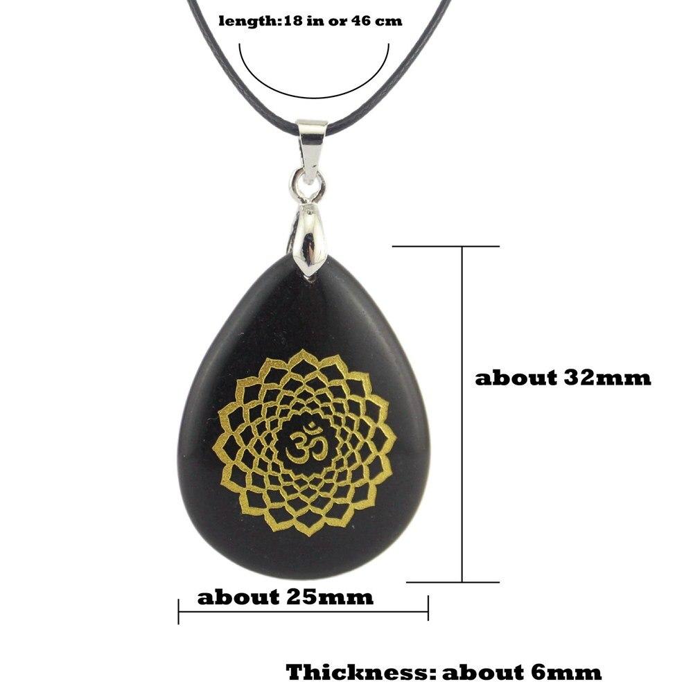 Pierre naturelle bijou sculpture de sept chakras Amulette cakra Ovale Pendentif Accessoires