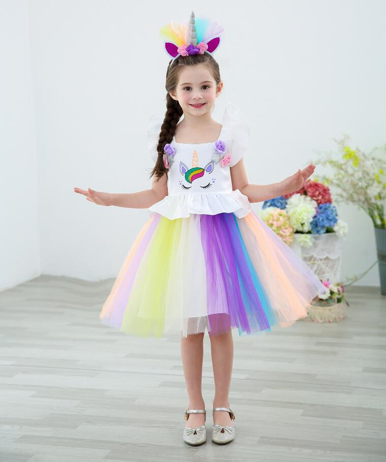 cbd964159 Fancy Dress for Girls Unicorn Party Dress up Rainbow Kids Dresses for Girls  Princess Girl Halloween Carnival Costume Tutu Wea