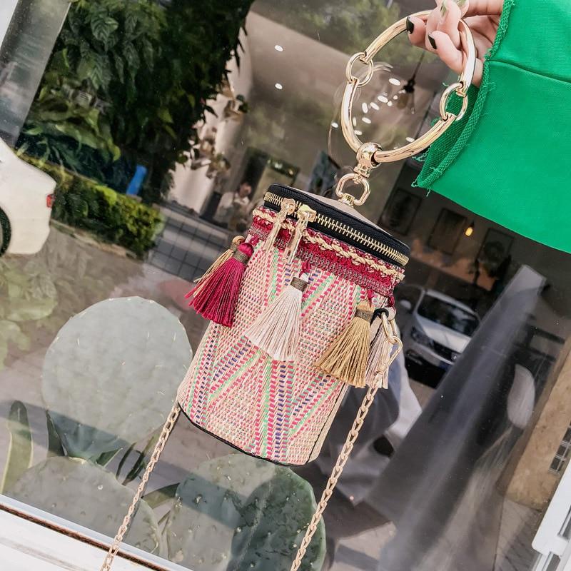 Tassel Shaped Straw Bags Ring Metal Handle Handbags Women Fashion Knit Bucket Mini Cylindrical Messenger Purses 6