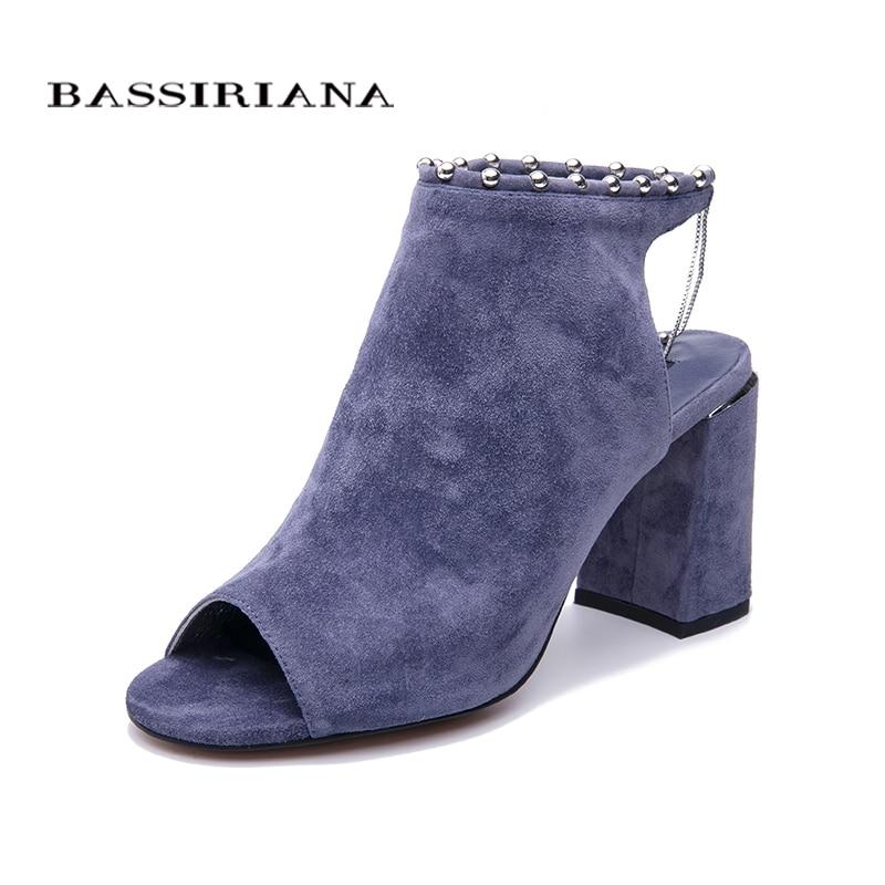 BASSIRIANA 2019 nouveau véritable daim talons hauts chaussures femme bureau robe gladiateur sandales femmes sans lacet été taille 35 40-in Sandales femme from Chaussures    2