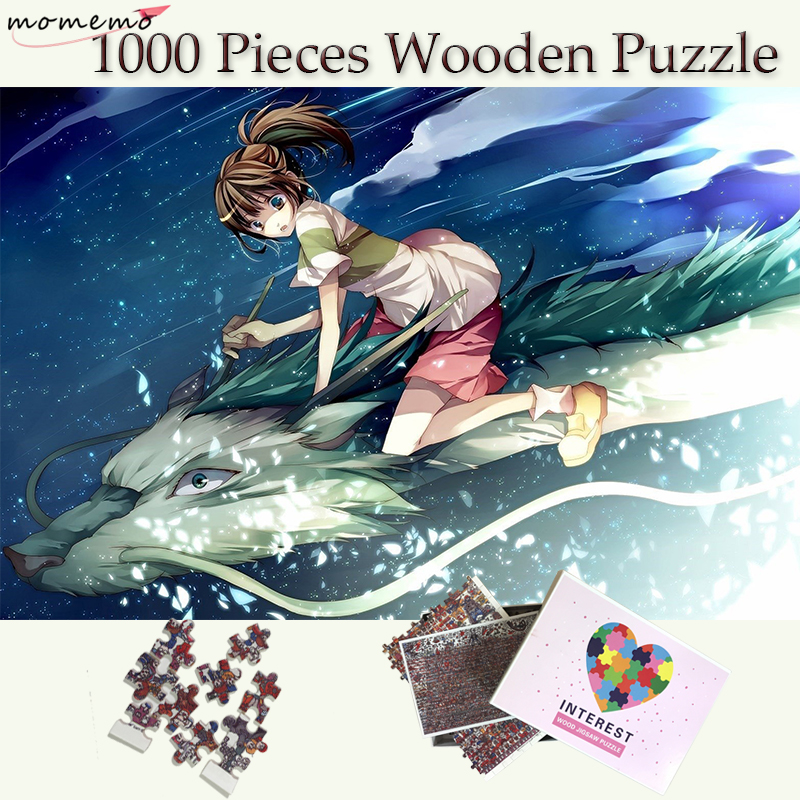 MOMEMO Spirited Away Jigsaw Puzzles 1000 Pieces Wooden Puzzle Adults Puzzle Toys Cartoon Pattern Puzzle Games Kids Wooden Toys