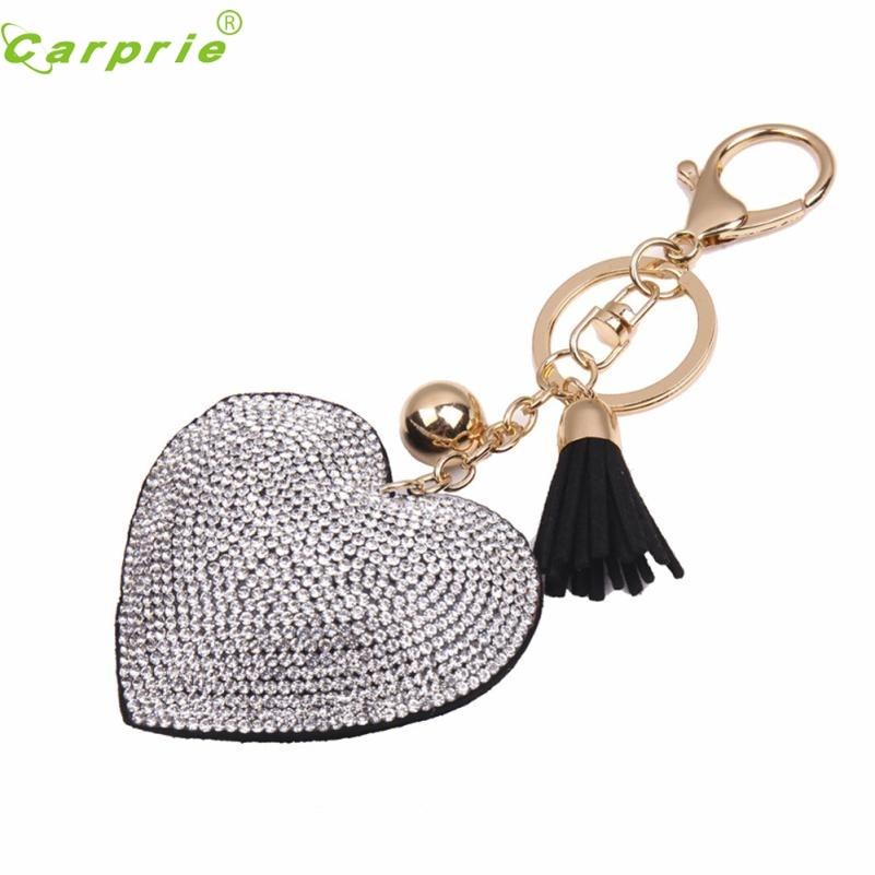 CARPRIE New  Love Rhinestone Tassel Keychain Bag Handbag Key Ring Car Key Pendant color bk Oct18 2018