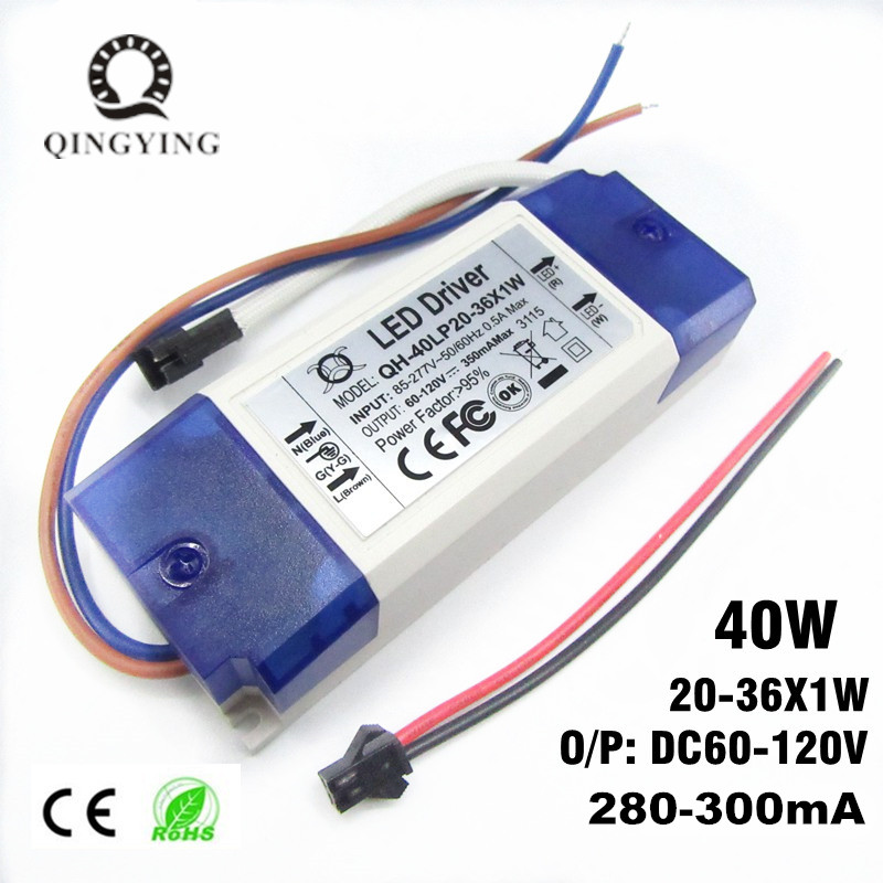 1/2/5/10 Stykker 20W 30W 40W LED Driver 20-36x1W 300mA DC60-120V High Power Lighting Transformers For Floodlight