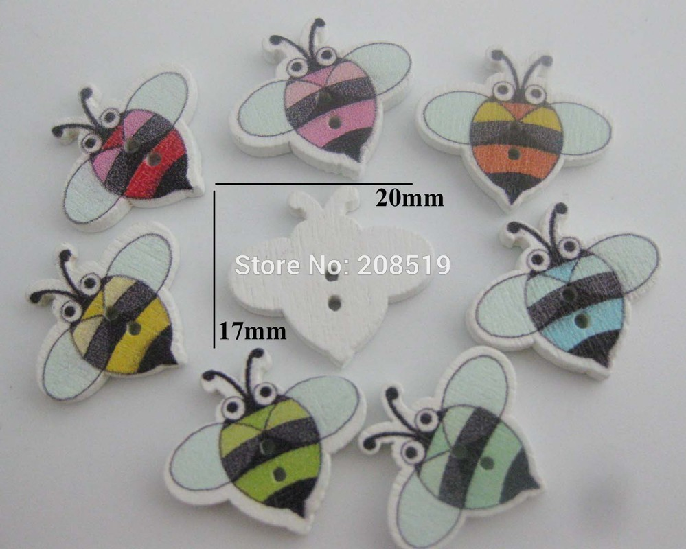 WBNNGG Cutely Animal Bee style baby shirt buttons mix 200pcs 17mm 20mm 2 hole wood sewing buttons painting in Buttons from Home Garden