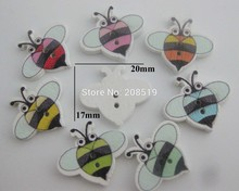 WBNNGG Cutely Animal Bee style baby shirt buttons mix 200pcs 17mm*20mm 2 hole wood sewing painting
