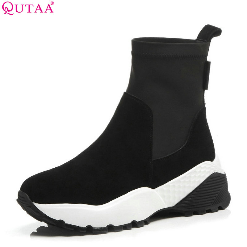 QUTAA 2019 Cow Suede Fashion Women Anke Boots Platform Wedges Heel Winter Shoes Round Toe Woman Motorcycle Boots Big Size 34-41 winter black wedges heel platform half boots for woman fashion metal chain lady short boots motorcycle boots size 34 43