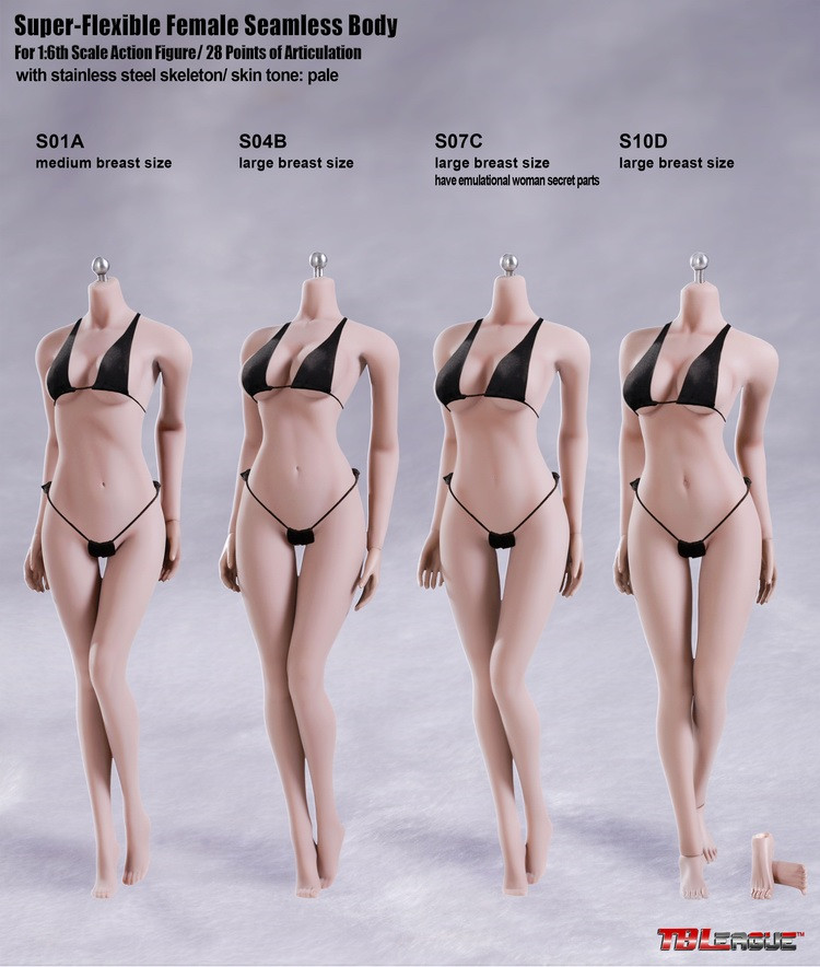 USA Shipping Pale TBLeague S22A Female Medium Bust Muscle 1//6 Scale Body Figure