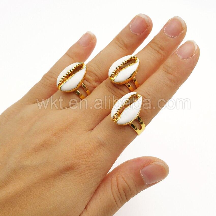 WT R249 nowy złoty i srebrny porcelanka pierścień, hurtownie 10 sztuk naturalne z muszli cowrie pierścień dla kobiet dziewczyna prezent regulowany rozmiar w Pierścionki od Biżuteria i akcesoria na  Grupa 2