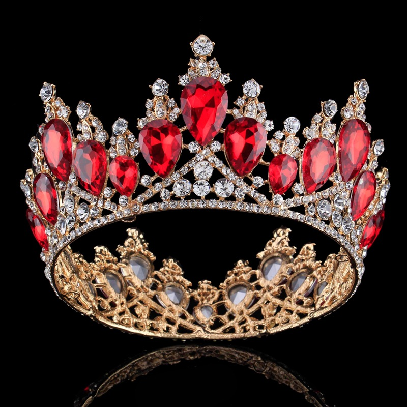 Gold Silver Big Tiara Crown Red Crystals Rhinestone Bridal Crowns Headbands Wedding Bridal Hair Jewelry Accessories Headpieces