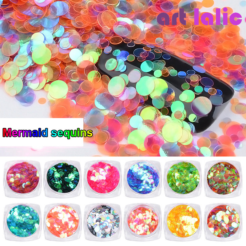 Artlalic 1 Box 3ml New Mini Round Thin Paillette Nail Art Glitter Decoration 2mm/3mm/5mm DIY Colorful Sequin Design Nails Tips stylish protective silicone back case for motorola x phone translucent white