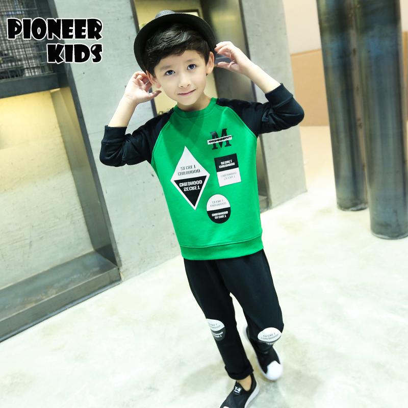 Pioneer Kids 2016 New Autumn Spring Boy Set Thermal Children Tracksuit Kids Clothing Suit Boys Long-sleeved Shirt+trousers Suits 2016 new children s clothing boys long sleeved t shirt large child bottoming shirt spring striped shirt tide