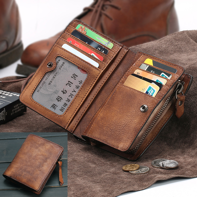 Vintage Genuine Leather Wallet men Purse leather men Wallet vertical short money bag male wallet credit