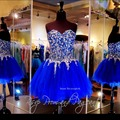 DSC017 Royal Blue Luxury Cocktail Dresses Short Party Ball Gowns Crystal Ever Pretty Dress Prom Homecoming Dress For Ladies
