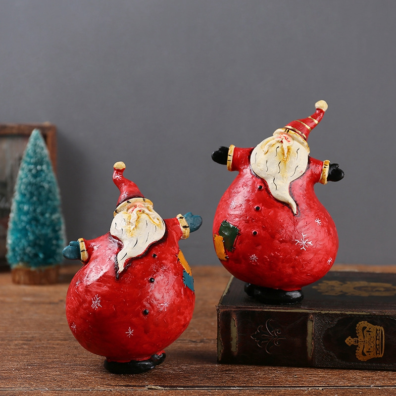 Creative Santa Claus home decor Modern Resin figurine Crafts Cartoon Unique Christmas Navidad artesanato Kids Birthday Gifts