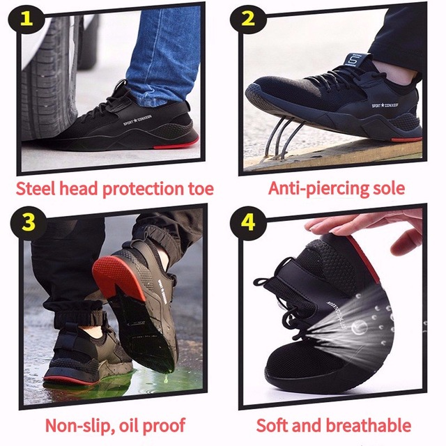 Men's Steel Toe Work Safety Shoes Casual Breathable Outdoor Sneakers Puncture Proof Boots Comfortable Industrial Shoes for Men 1