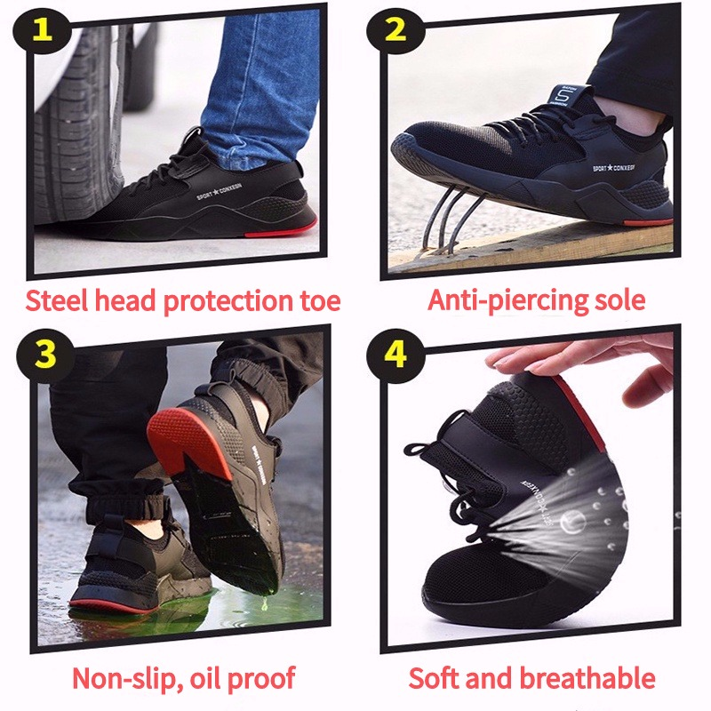Steel Toe Safety Shoes Puncture Proof Boots Comfortable Anti smashing Anti piercing Industrial Shoes for Men Breathable Sneakers in Work Safety Boots from Shoes