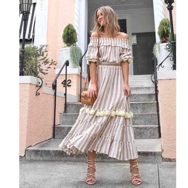 Women Off Shoulder Maxi Striped Dress Linen Handmade Tassels Elegant Long Dresses With Lovely Balls For