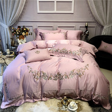 New Luxury Pink European style Royal Embroidery 60S Egyptian Cotton Bedding Set Duvet Cover Bed sheet Linen Pillowcases