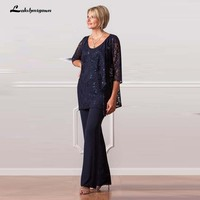 Dark Navy Plus Size Mother Of The Bride Pants Suits Lace Jacket Women Chiffon Mother Formal Wear Half Sleeve for Wedding