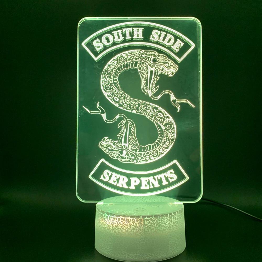 Novelty Light Riverdale Gift Snake Logo Room Decor Table Lamp Southside Serpents Sign Kids 3D Illusion Led Night Light Lamp