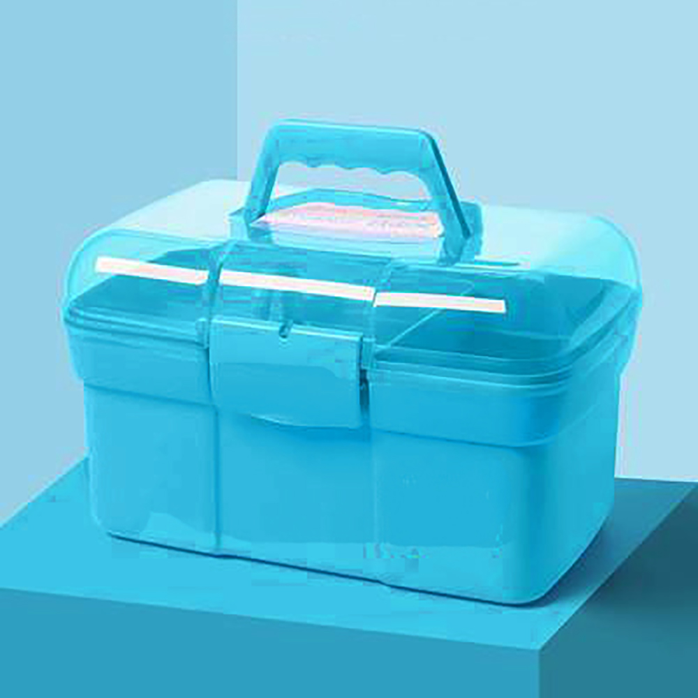 Nail Art Craft 2 Layer Storage Case Box Makeup Plastic Portable Collection Storage Box