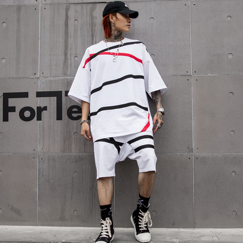 High Street Color Patchwork Random Stripe Personality Stylish Men's Suit Hip Hop Summer Fashion Male Suit (T-Shirts + Shorts)