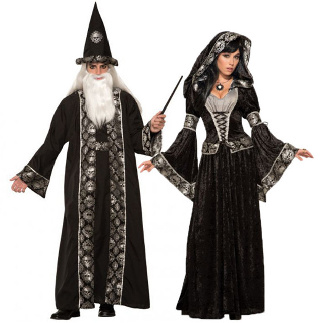 afb79ebef538 Halloween grim Reaper costume for man women Black wizard Witch ghost Couple  Cosplay clothing Scary Day