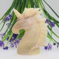 4MIHUANG JADE JASPER Handmade Carved Crystal Unicorn Skull Crystal Realistic Healing Stones and Crystals Good Luck MU30