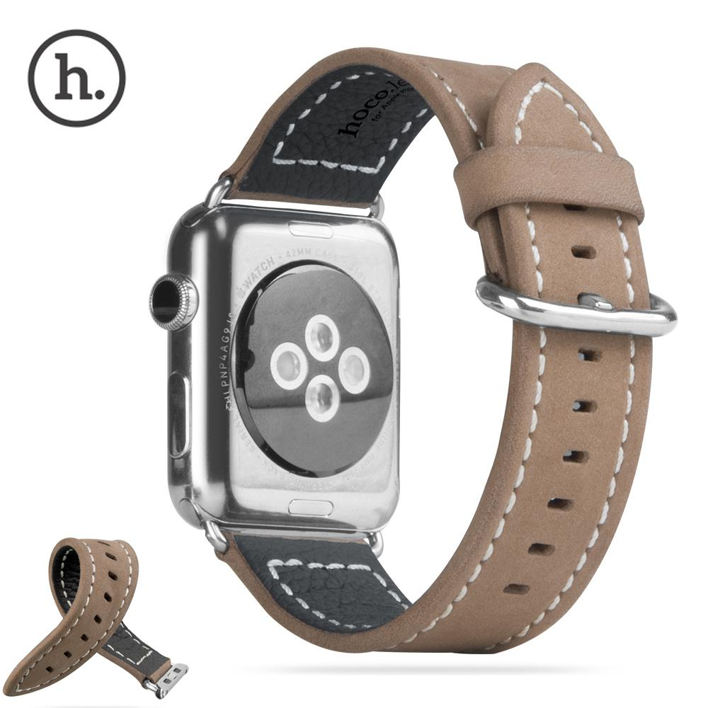 HOCO Luxury Genuine Leather Band Vintage Embossed Wrist Strap For Apple Watch Series 2 & Apple Watch iWatch 38mm 42mm Watchband kakapi crocodile skin genuine leather watchband with connector for apple watch 38mm series 2 series 1 pink