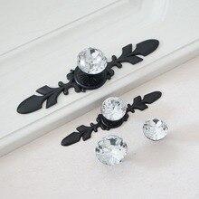1pc Modern Pulls Crystal Kitchen Cabinet Handles Glass Dresser Black Drawer Knobs Furniture Hardware Decor