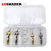 LUSHAZER DD spoon 8pcs/lot fishing lure 5g 10g silver gold metal fishing bait spinnerbait Treble Hook hard lures China free box