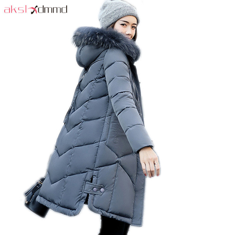 AKSLXDMMD Fur Collar Hooded Thick Padded Long Woman Coats 2017 New Women Winter Jacket Plus Size Parkas Mujer Manteau LH1078 akslxdmmd parkas mujer 2017 new winter women jacket fur collar hooded printed fashion thick padded long coat female lh1077