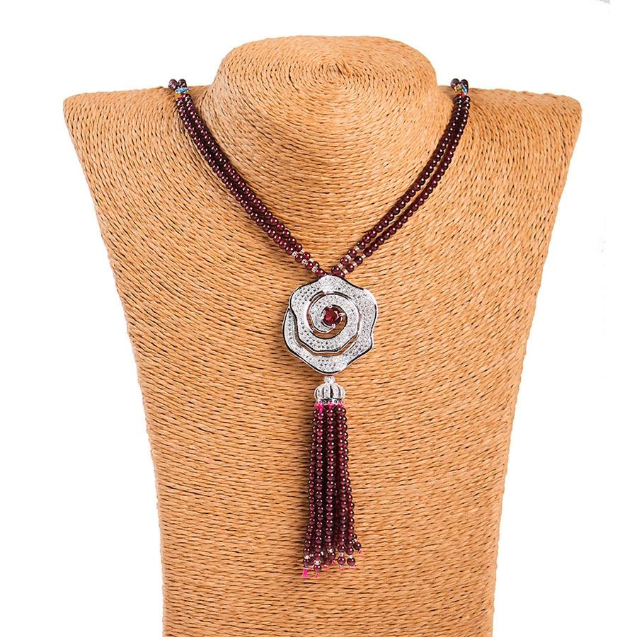 Véritable naturel rouge grenat cristal perles rondes femmes joli pull collier longueur 70 cm