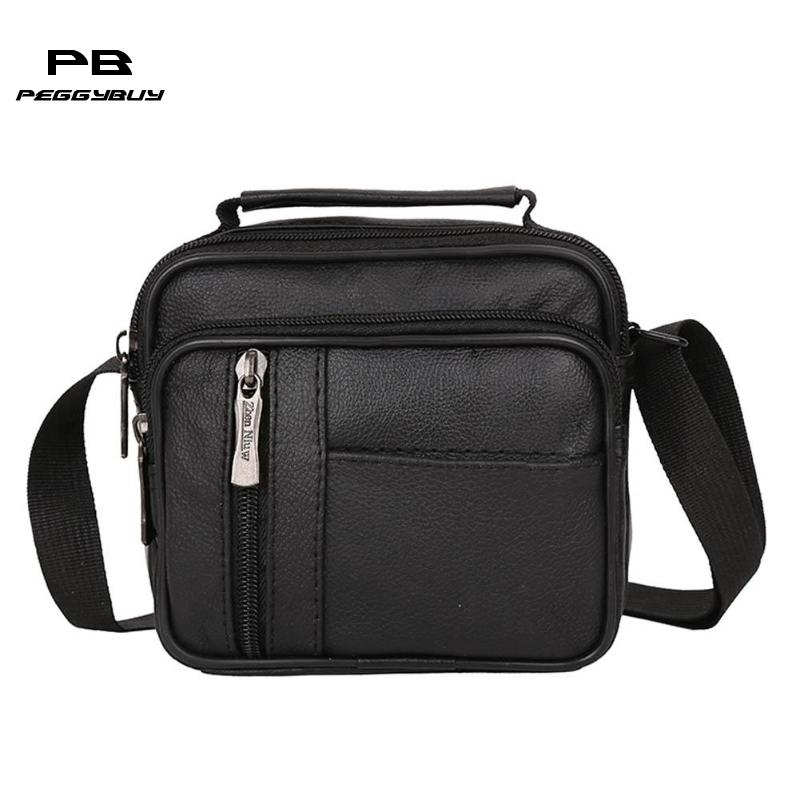 Men PU Leather Fashion Messenger Bag Crossbody Business Handbag Small Casual MultifunctionTravel Shoulder Bag for Teenerger New
