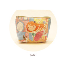 Brand canvas purse wallet small fresh art small coins bag DIY cartoon cute square sweet purses for women mini coin pouch