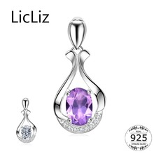 LicLiz 925 Sterling Silver Cusion Purple Pendant for Women Crystal DIY Necklace Pendant Paved Zircon White Gold Jewelry LP0263 licliz 925 sterling silver flower pendant for women cz crystal diy necklace pendant heart purple zircon stones white gold lp0261