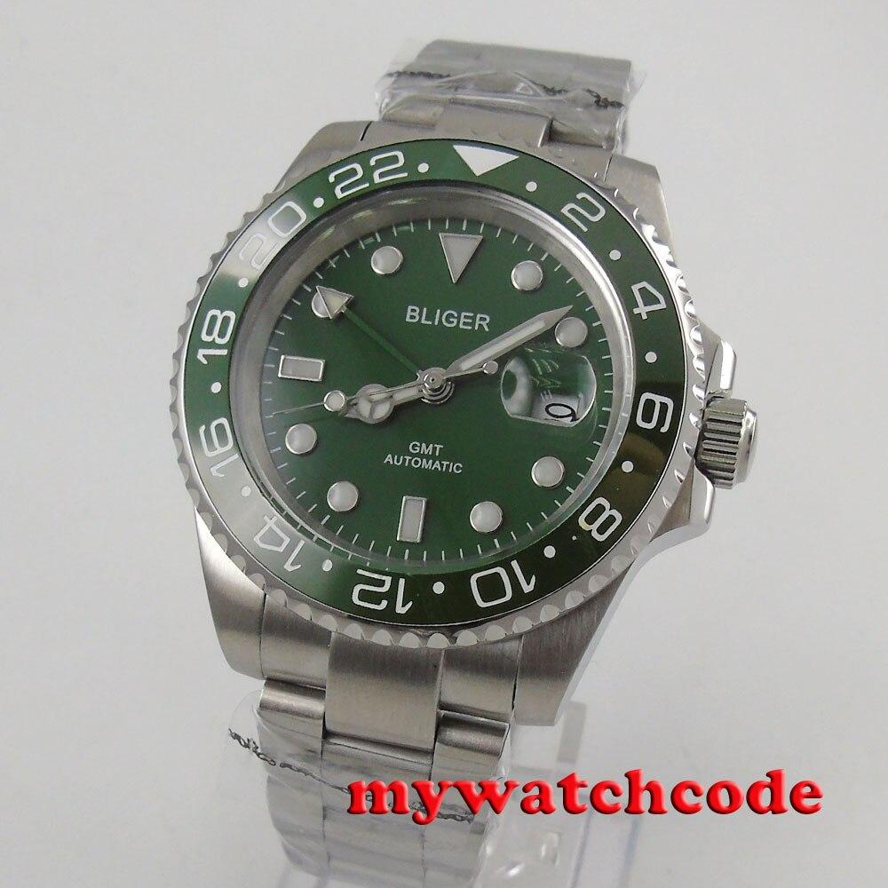 40 Mm Bliger Green Dial Blauw Lichtgevende Marks Gmt Datum Saffierglas Automatic Mens Watch 179B - 2