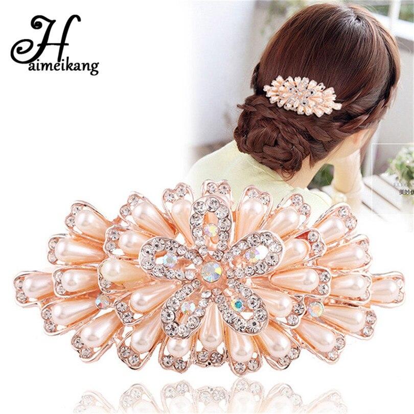 Haimeikang Korean Viscose Hair Pins Simulated Pearls Hair Clip Hair Barrettes For Women Princess Hair Accessories Wholesale