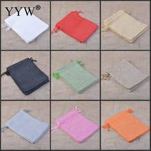 13x18mm Wholesale Big Size Drawable Cotton Linen Christmas Wedding Gift Bags Jewelry Candy Packing Drawable Bags&pouch 10PCs/Bag(China)