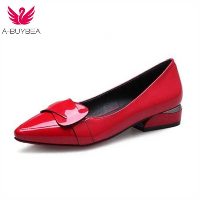 Vrouwen Lakschoenen OL Loafers Snoep Kleuren Wees Toevallige Lage hakken Vrouwelijke Zoete Gesp Boot Geel Rode Schoenen