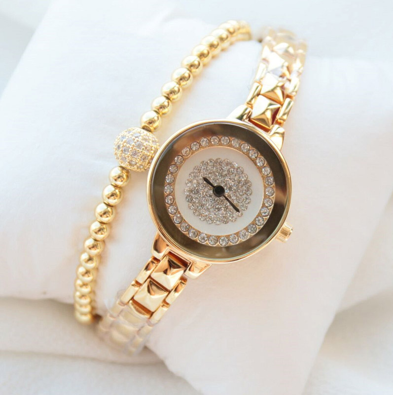 New Arrivals BS Brand Luxury Full Diamond Bling Gold Bracelet Watch Giving Crystal Bangle Present For Women spring big sale brand bs luxury 14k gold diamond women watch lady gold siliver dress watch rhinestone bangle bracelet