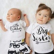 Новые брендовые одинаковые комплекты для семьи комбинезон для маленьких мальчиков, боди для маленьких мальчиков, футболка с надписью «Big Sister» летняя детская одежда белый От 3 месяцев до 6 лет