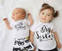 Nuovo Marchio di Famiglia Corrispondenza Outfits Ragazzi Pagliaccetto Del Bambino Ragazzino Tuta Grande Sorella T-Shirt Estate Del Capretto dei vestiti, bianco 3 M-6 T