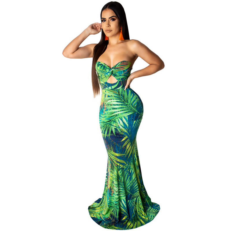 6047dab82a1c8 Abasona 2019 Women Summer Strapless Long Boho Beach Dress Backless Tropical  Printed Sexy Party Bodycon Mermaid Dress Vestidos