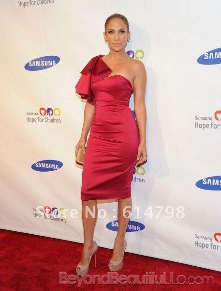 6175274e57922 Jennifer Lopez Red One Shoulder Floral Ruffles Cap Sleeves Satin ...