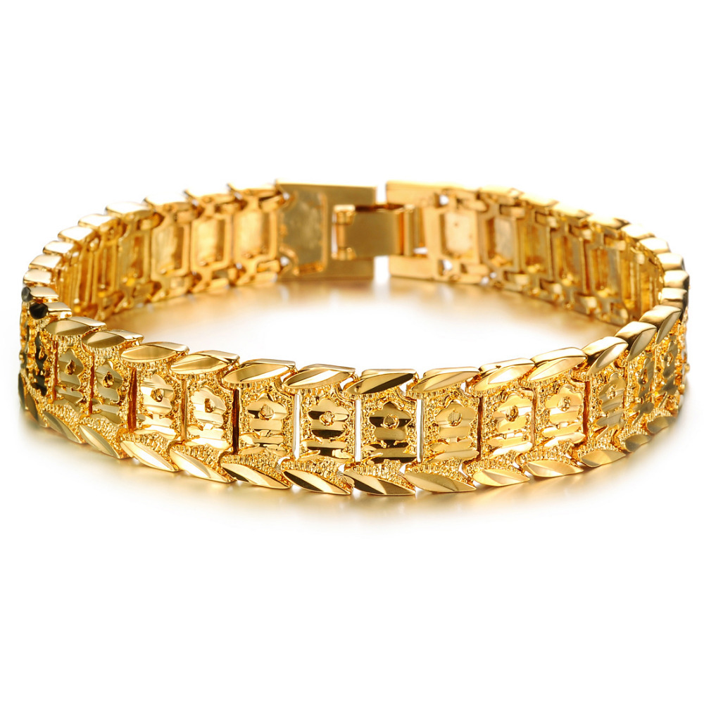 Classic 18K Gold Plated Bracelets & Bangles , Men\'s Link Chain ...