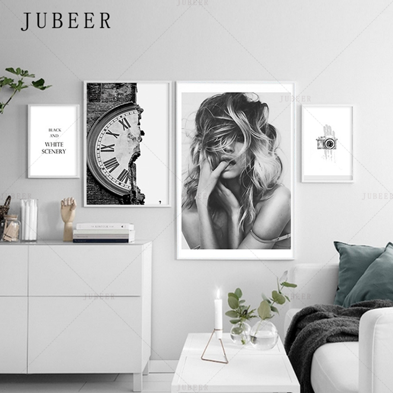 Nordic Minimalism Poster Black and White Characters Frameless Decorative Painting Lving Room Wall Art Inspirational Maxim in Painting Calligraphy from Home Garden
