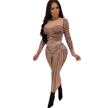 2019 spring new womens dress sexy perspective mesh print club party