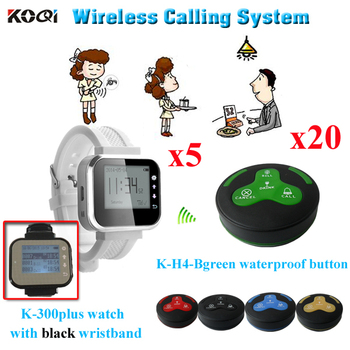 Long Range Wireless Call Bell System Service Paging Equipment ( 5 watch receiver + 20 waterproof table bell)