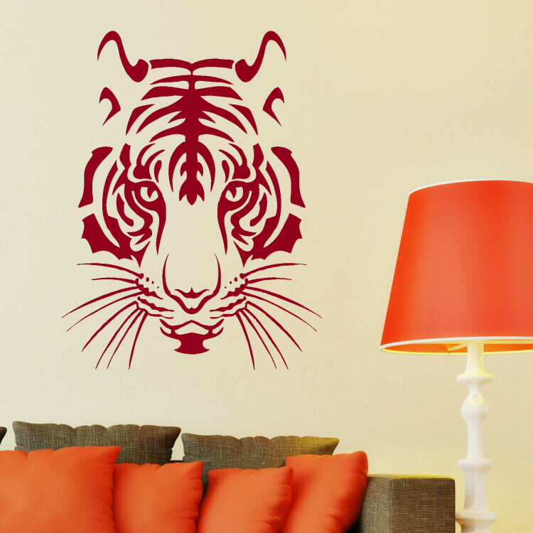 Vinyl Tiger Lion Head Big Cat Animales Cub Giant Sticker Large Wall Art Sticker Bedroom Decor